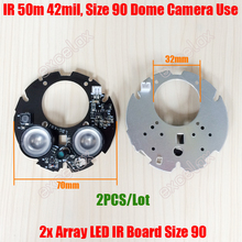 2PCS/Lot 2pcs LED Array IR 20-50M 42mil Round PCB Board Size 90 Infrared Night 850nm for CCTV Eyeball Dome Camera Case Casing