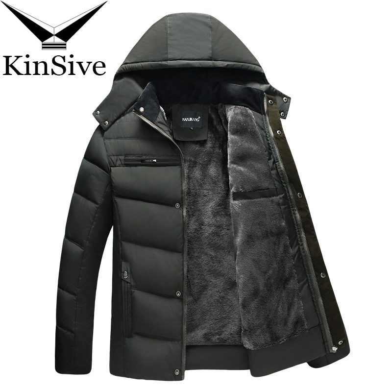 Thick Warm Winter Jacket Men Overcoat Jackets Detachable Hat Windbreaker Outerwear Wool Liner Coats Down Parkas For Men Clothes