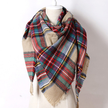 2017 Brand New Triangular Scarf Acrylic  Pashmina Fashion Tassels Plaid Shawl Warm Winter For Women Free Shipping