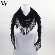WOMAIL New Brand design Summer Lady Lace Scarf Tassel Sheer Metallic Women Triangle Bandage Floral scarves Shawl Sept28(China)