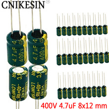CNIKESIN 50PCS 400V 4.7UF high frequency low resistance long life LED power supply direct electrolytic capacitor 4.7UF 400V 8X12