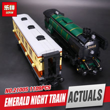 LEPIN 21005 1109Pcs NEW Technic Series Emerald Night Train Model Educational Building Kits Block Bricks Children Gigt Toys 10194