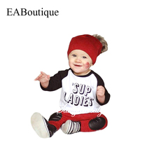 EABoutique  Winter Rock Fashion Letter 'Sup ladies printed long sleeve t shirt with pants baby boy clothing set