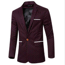 2016 New Mens Blazer Fashion Suits For Men's Top Personality Shade Checkered Design Casual Suit Jacket Coat Clothing MC01(China)