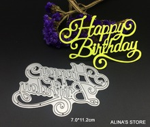 wish letters happy birthday metal cutting dies Scrapbooking greeting words paper craft die decorative embossing stencils