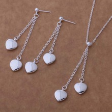 Lovely Jewelry Set Silver Earrings&Necklace Heart Shape Fashion Set For Women AT061