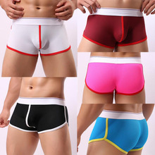 Fashion Sexy Hollow Out Men Transparent Underwear Mid-Rise Boxer Patchwork Shorts Bulge Pouch Underpants For Men Drop Shipping(China)