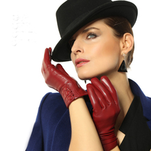 WORMEN Women Leather Gloves Woman High Guality Leather Sheepskin Thermal Underwear Winter Gloves Free Shipping(China)