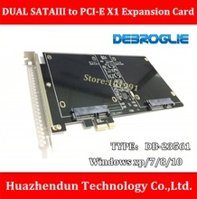 DEBROGLIE DB-23561 DUAL SSD SATAIII to PCI-E X1 Expansion Card for PC/Server with M3 Screw-8pcs Support Windows xp/7/8/10(China)