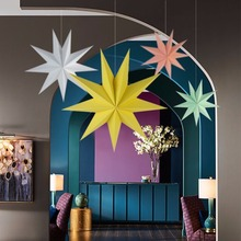 1Pcs 30cm 6'' Nine Angles Paper Star Decoration Tissue Paper Star Lantern Hanging Stars For Christmas Party Decoration