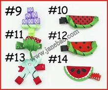 free shipping300pcs sculpture hair clippie fruit hair clips summer hair bows ice cream watermelon pineapple cherry strawberry h(China)
