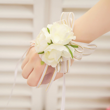 1pc Hand Wrist Corsage Bracelet Artificial Silk Rose Flowers For Wedding Handcrafted Flower Bouquet For Bride Event Supplies