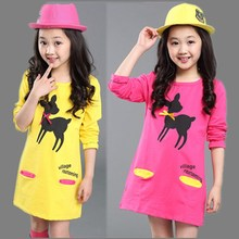 Autumn/Spring style girl dress cotton baby dress Pattern girls clothing infant princess dress girl straight clothes kids dress