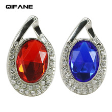 QIFANE 32GB 64G crystal U Disk 4G luxury Jewellery jewelry pen drive 8G 16G diamond USB Flash Drive memory stick Free shipping