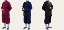 UNISEX 3color top quality linen zen Lay meditation clothing Buddhist shaolin monks suits martial arts uniform black/blue/red(China)