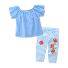 2017 Baby Girls Flower Clothes Kids Tube Blouse And Jean Pants Children Summer Clothing Sets For 2-7T