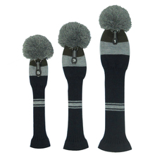 Grey/ Olive /Navy Blue Big Stripes Style Knit Golf Headcovers, Set of 3 for Driver Wood (460cc) , Fairway Wood and UT