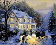 Frameless picture DIY new arrival diy digital oil painting abstract 40 50 paint by number kits Winter romance(China)