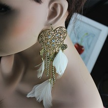 Exaggerated the new women jewelry popular romantic birthday party girl heart tassel feather earrings gift free shipping.