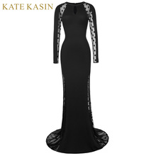 Kate Kasin Polka Dots Long Sleeve Evening Dresses 2017 See Through Formal Party Dress Black Mermaid Evening Gowns Robe De Soiree