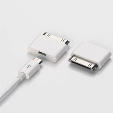 30 Pin to Micro usb Dock Charger Adapter Converter For iPhone 4 4s 3GS New ipad 3 2 ipod touch 4 Android Charging USB Cable Cord(China)