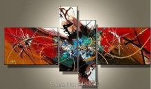 Hand-painted Red Modern Line Star Artwork Abstract Oil Painting On Canvas 4 Panel Arts Sets Home Wall Decor For Living Room Sale(China)
