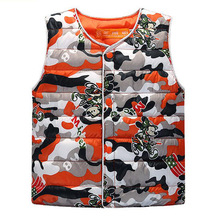 Boy camouflage vest vest children warm cotton-padded clothes girls beet beauty high quality jacket, children 2 to 12 years old.