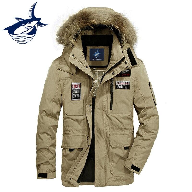 Tace /& Shark medium langen mantel männer unten jacke Russland winter jacke für männer pelz kragen thick windbreaker ente unten jacke männer