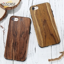 KISSCASE Wood Case for iPhone 6 6S 5 5S SE 7 Silicone Case Soft Protective Back PC Frame Luxury Phone Cover for iPhone 6 7 Plus