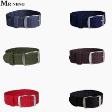 MR NENG Brand 1 PCS / Wholesale Fashion Nylon Woven Watchband Watch Strap 20mm 22mm for Perlon Black Navy Color Watch Strap(China)