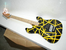 Wholesale  Kramer evh electric guitar 22 fret black stripe yellow electric guitar Free Shipping
