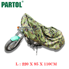 Partol L Size Forest Camouflage Motorcycle Cover Waterproof Outdoor Uv Protector Bike Rain Dustproof Motorbike Motor Scooter