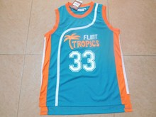 Flint Tropics Semi Pro Movie Throwback Basketball Jerseys,#33 Jackie Moon Blue Stitched Movie  jersey Free Shipping