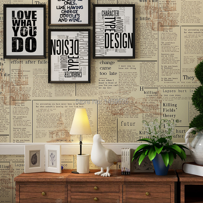 2016 Photo Wallpaper American Retro English Newspaper Wallpaper European Style Bedroom Study Bar Clothing Store Personalized <br>
