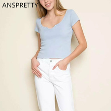 Anspretty Apparel 2017 New summer t shirt women small v neck crop top short sleeve pink four color female tee