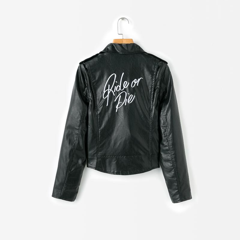 efaf4eb7883 2017 winter coat women casual black leather jacket women long sleeve  motorcycle jacket letter womens clothing