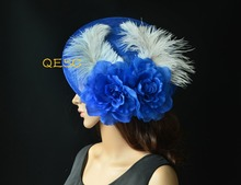 Large royal blue ivory feather fascinator Sinamay fascinator silk flower disc fascinator hat for party wedding derby races.