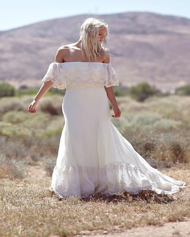 Plus Size Boho Off Shoulder Lace & Chiffon Wedding Dress 2019 Court Train boat neck Bridal Gowns Vestidos de Nova
