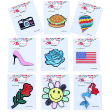 Prajna Folk Proverbs Card Patches Camera Food Supermarket Embroidered Iron On Cartoon Cute Patch For Clothing Bag Sticker Badge(China)