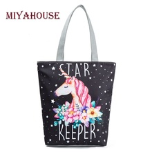 Miyahouse Casual Canvas Tote Handbag Women Cartoon Unicorn Printed Shoulder Bag Female Summer Beach Bag Shoulder Bag Lady(China)