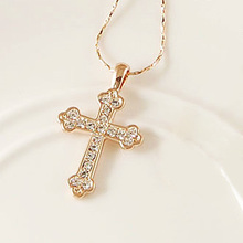 DCM Free Shipping Fashion Jewelry Cross Necklace Austrian Crystal Rose Gold Color Gift choker for women