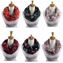 Lastest Vogue Women Long Necklace Scarves Owl Printed Voile Scarf Shawl Wrap