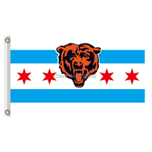 Chicago Bears Flag Banners Football Team Flags 3x5 Ft Super Bowl Champions Banner Red Star World Series