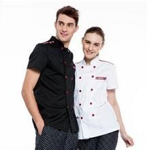 New ! Restaurant Breathable Stand Collar Double Breast Man Woman Chef Jackets Short-sleeve Kitchen Cook Suit Uniform Clothing