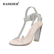 DADIJIER 2018 Women High Heels Sandals PVC Jelly Sandals Crystal Open Toed Buckle Strap Transparent Sandals Pumps Shoes ST241(China)