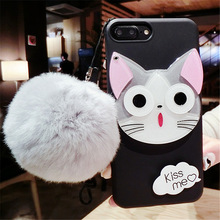 Cartoon Cute Hello Kitty Cat Phone Cases For iPhone 6 7 6S / Plus Case Soft silicon Mirror Cover For iPhone 6 5 5S Girls Coque(China)