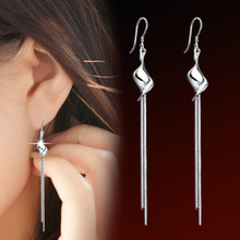 Silver plated tassel earrings long section of high-quality fashion cute lady jewelry manufacturers, wholesale jewelry E0405