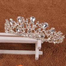 Elegant Noble Crystal Rhinestone Crown Leaf Wedding Party Bride Tiara Headband -W128(China)