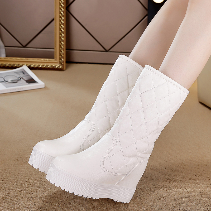 2017 Cotton fashion waterproof snow boots womens half-knee high boots flat winter boots platform fur shoes height increasing<br><br>Aliexpress