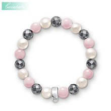 Charm Bracelet Pink White Grey Freshwater Pearl Ts Charm Carrier For Women Romantic Gift Thomas Style Trendy Club Bracelet